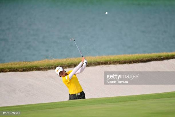 Yuka Saso of Japan hits out from a bunker on the 18th hole during the first round of the JLPGA Championship Konica Minolta Cup at the JFE Setonaikai...