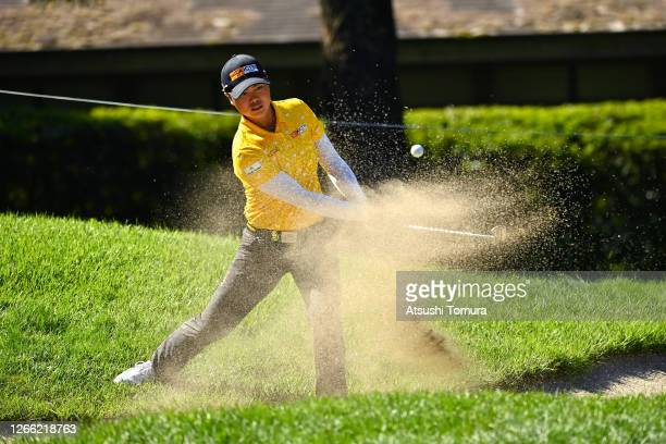 Yuka Saso of Japan hits out from a bunker on the 9th hole during the first round of the NEC Karuizawa 72 Golf Tournament at the Karuizawa 72 Golf...