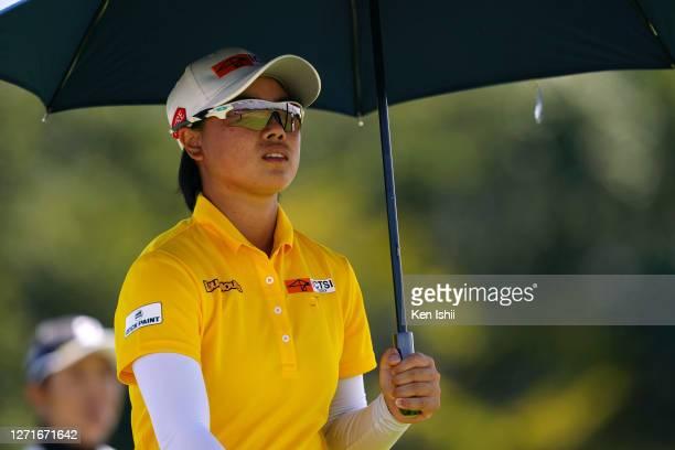 Yuka Saso of Japan is seen on the 6th hole during the first round of the JLPGA Championship Konica Minolta Cup at the JFE Setonaikai Golf Club on...