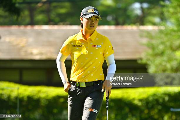 Yuka Saso of Japan is seen on the 9th green during the first round of the NEC Karuizawa 72 Golf Tournament at the Karuizawa 72 Golf Kita Course on...