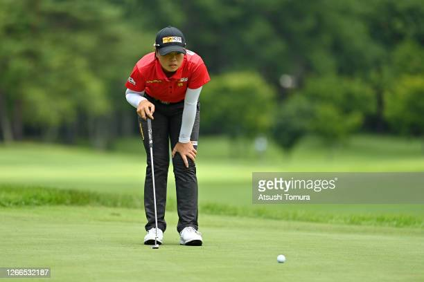 Yuka Saso of Japan lines up a putt on the 11th green during the final round of the NEC Karuizawa 72 Golf Tournament at the Karuizawa 72 Golf Kita...