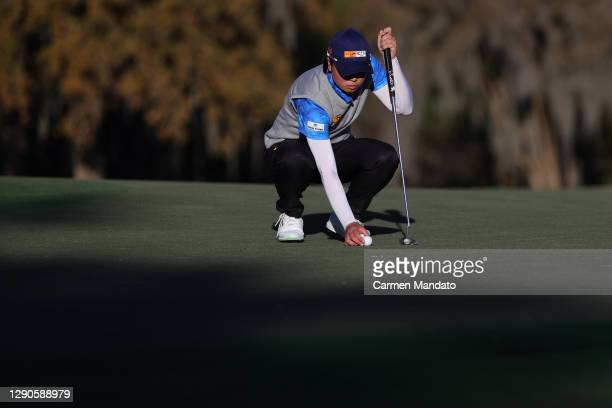 Yuka Saso of Japan lines up a putt on the 16th green during the first round of the 75th U.S. Women's Open Championship at Champions Golf Club Cypress...