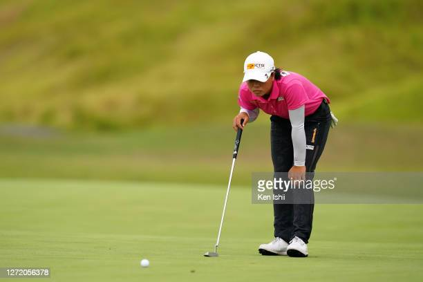 Yuka Saso of Japan lines up a putt on the 17th green during the third round of the JLPGA Championship Konica Minolta Cup at the JFE Setonaikai Golf...
