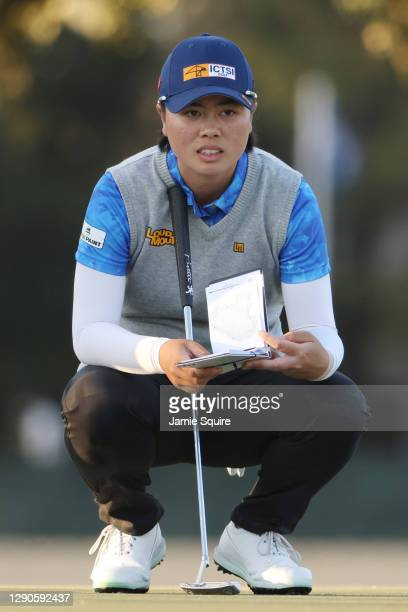 Yuka Saso of Japan looks over a putt on the 18th green during the first round of the 75th U.S. Women's Open Championship at Champions Golf Club...