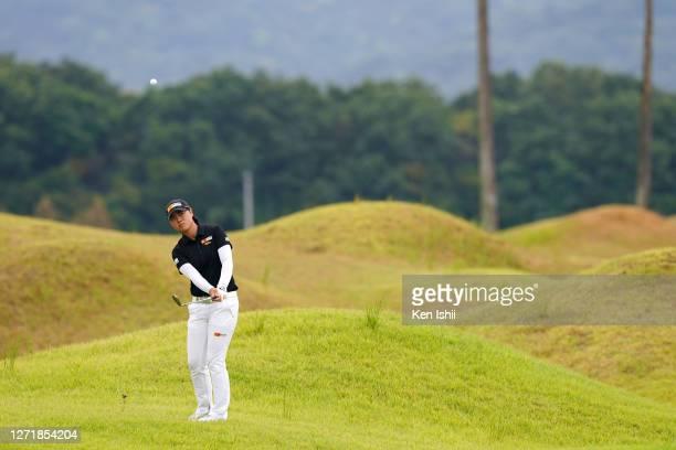 Yuka Saso of Japan plays a shot on the 6th hole during the second round of the JLPGA Championship Konica Minolta Cup at the JFE Setonaikai Golf Club...