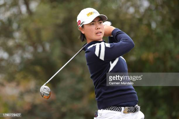 Yuka Saso of Japan plays her shot from the 12th tee during the second round of the 75th U.S. Women's Open Championship at Champions Golf Club...