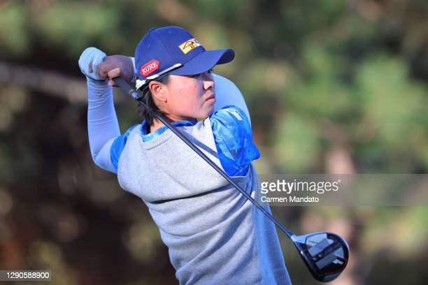 Yuka Saso of Japan plays her shot from the 17th tee during the first round of the 75th U.S. Women's Open Championship at Champions Golf Club Cypress...