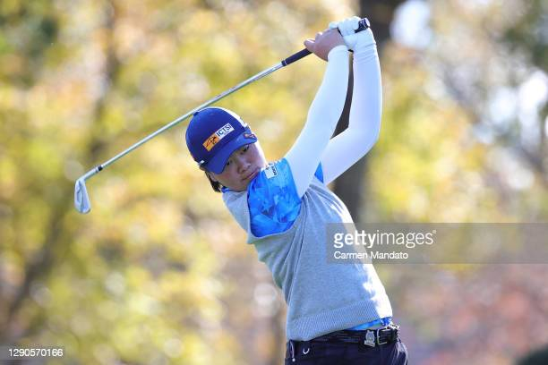 Yuka Saso of Japan plays her shot from the eighth tee during the first round of the 75th U.S. Women's Open Championship at Champions Golf Club...