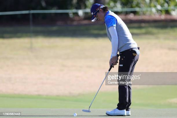 Yuka Saso of Japan putts on the 12th green during the first round of the 75th U.S. Women's Open Championship at Champions Golf Club Cypress Creek...