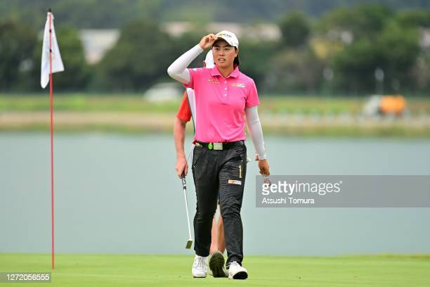 Yuka Saso of Japan reacts after holing out on the 18th green during the third round of the JLPGA Championship Konica Minolta Cup at the JFE...