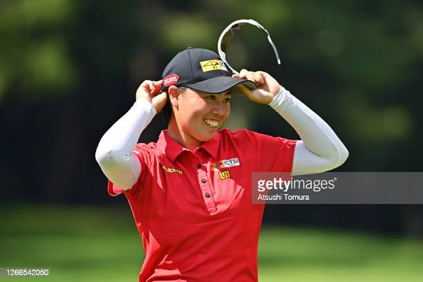 Yuka Saso of Japan smiles after holing out on the 18th green during the final round of the NEC Karuizawa 72 Golf Tournament at the Karuizawa 72 Golf...