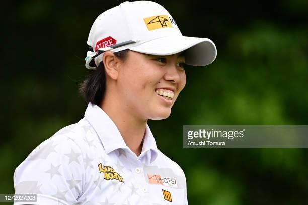 Yuka Saso of Japan smiles during the practice round ahead of the Descente Ladies Tokai Classic at the Shin Minami Aichi Country Club Mihama Course on...