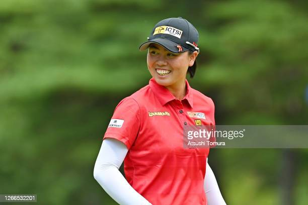 Yuka Saso of Japan smiles on the 11th green during the final round of the NEC Karuizawa 72 Golf Tournament at the Karuizawa 72 Golf Kita Course on...