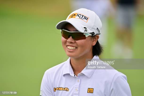 Yuka Saso of Japan smiles on the 1st green during the final round of the JLPGA Championship Konica Minolta Cup at the JFE Setonaikai Golf Club on...