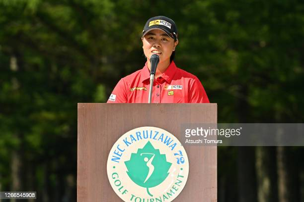 Yuka Saso of Japan speaks during the award ceremony following the final round of the NEC Karuizawa 72 Golf Tournament at the Karuizawa 72 Golf Kita...