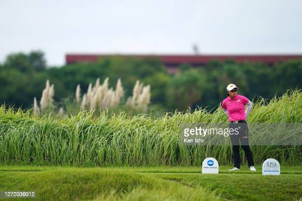 Yuka Saso of Japan stands on the 5th tee during the third round of the JLPGA Championship Konica Minolta Cup at the JFE Setonaikai Golf Club on...