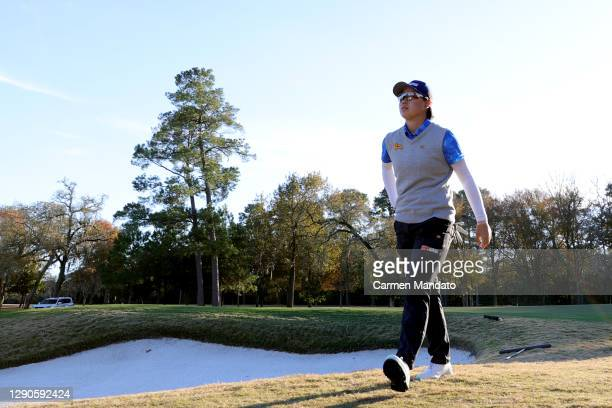 Yuka Saso of Japan walks off the 18th green during the first round of the 75th U.S. Women's Open Championship at Champions Golf Club Cypress Creek...