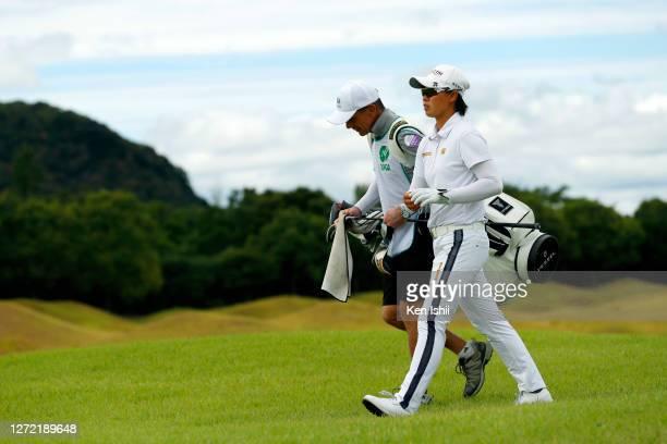 Yuka Saso of Japan walks on the 11th hole during the final round of the JLPGA Championship Konica Minolta Cup at the JFE Setonaikai Golf Club on...