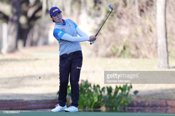 Yuka Saso of Japanplays a shot on the 14th hole during the first round of the 75th U.S. Women's Open Championship at Champions Golf Club Cypress...