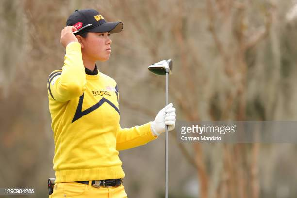 Yuka Saso of the Philippines looks on from the 11th tee during the third round of the 75th U.S. Women's Open Championship at Champions Golf Club...