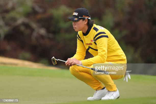 Yuka Saso of the Philippines looks over a putt on the second green during the third round of the 75th U.S. Women's Open Championship at Champions...
