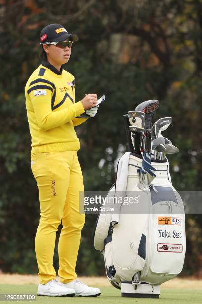 Yuka Saso of the Philippines looks over a shot on the third hole during the third round of the 75th U.S. Women's Open Championship at Champions Golf...