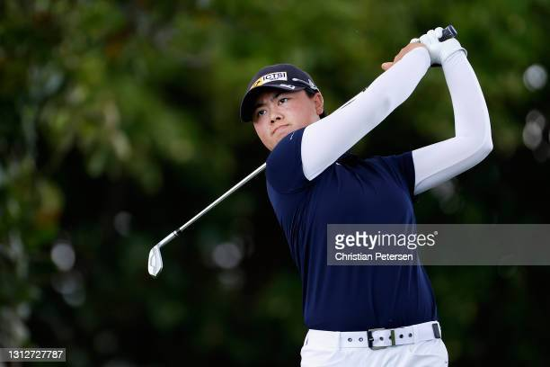 Yuka Saso of the Philippines plays a tee shot on the 12th hole during the second round of the LPGA LOTTE Championship at Kapolei Golf Club on April...