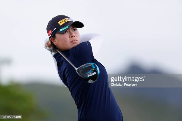 Yuka Saso of the Philippines plays a tee shot on the 13th hole during the second round of the LPGA LOTTE Championship at Kapolei Golf Club on April...