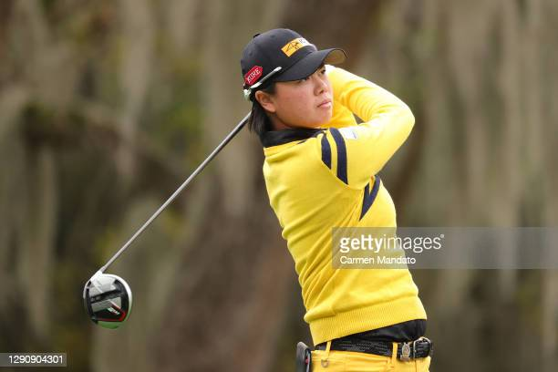 Yuka Saso of the Philippines plays her shot from the 11th tee during the third round of the 75th U.S. Women's Open Championship at Champions Golf...