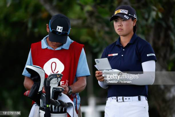 Yuka Saso of the Philippines prepares to tee off on the 12th hole during the second round of the LPGA LOTTE Championship at Kapolei Golf Club on...