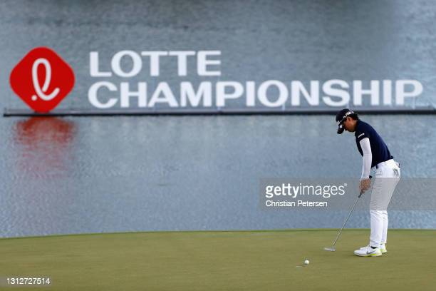 Yuka Saso of the Philippines putts on the 11th green during the second round of the LPGA LOTTE Championship at Kapolei Golf Club on April 15, 2021 in...