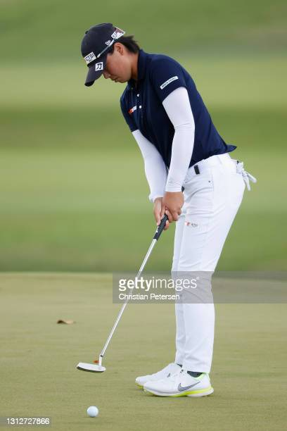 Yuka Saso of the Philippines putts on the 12th green during the second round of the LPGA LOTTE Championship at Kapolei Golf Club on April 15, 2021 in...