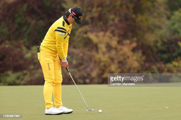 Yuka Saso of the Philippines putts on the second green during the third round of the 75th U.S. Women's Open Championship at Champions Golf Club...