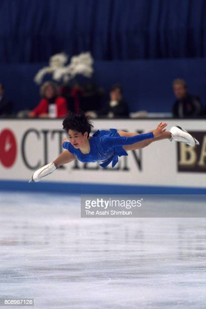 Yuka Sato of Japan competes in the Women's Singles Free Program during the Figure Skating World Championships at Makuhari Messe on March 26 1994 in...