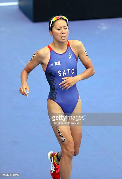 Yuka Sato of Japan finishes the Women's Triathlon on Day 15 of the Rio 2016 Olympic Games at Fort Copacabana on August 20 2016 in Rio de Janeiro...