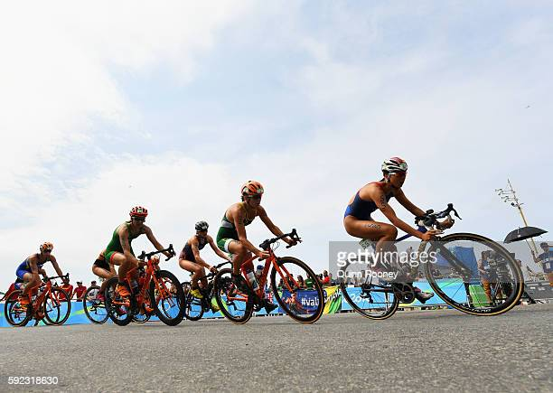 Yuka Sato of Japan rides during the Women's Triathlon on Day 15 of the Rio 2016 Olympic Games at Fort Copacabana on August 20 2016 in Rio de Janeiro...
