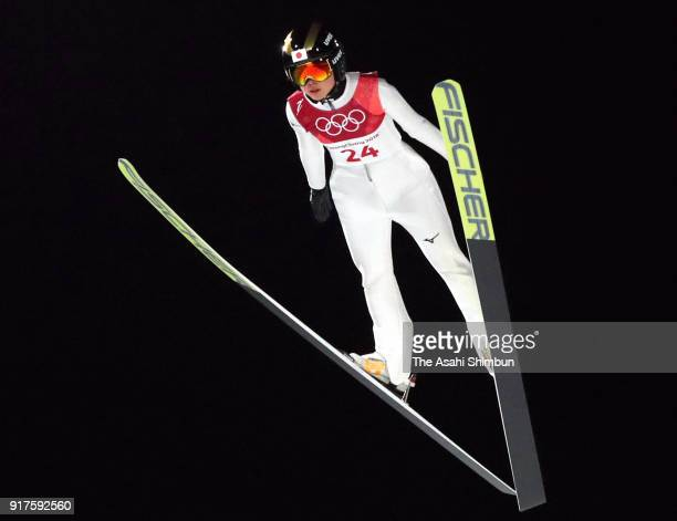 Yuka Seto of Japan competes in the first jump during the Ladies' Normal Hill Individual Ski Jumping Final on day three of the PyeongChang 2018 Winter...