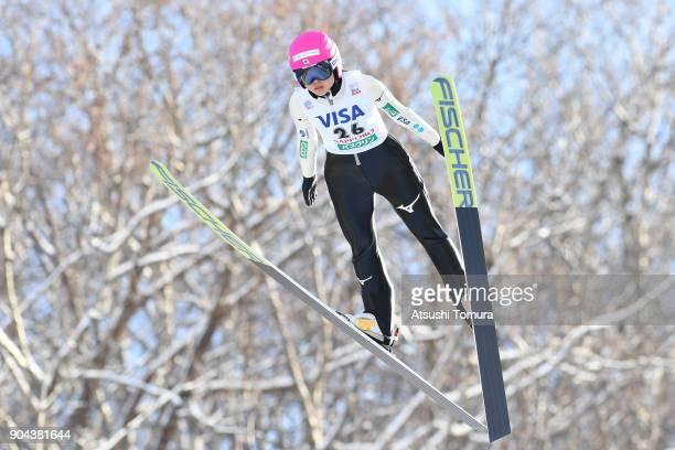 Yuka Seto of Japan competes in the Ladies normal hill individual during day one of the FIS Ski Jumping Women's World cup at Miyanomori Ski Jump...