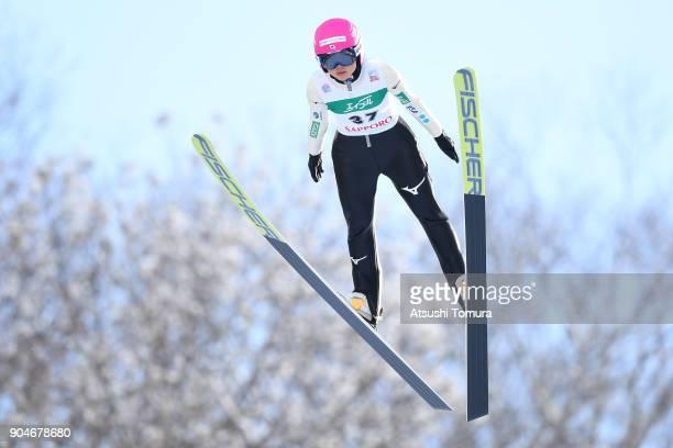 Yuka Seto of Japan competes in the Ladies normal hill individual during day two of the FIS Ski Jumping Women's World cup at Miyanomori Ski Jump...