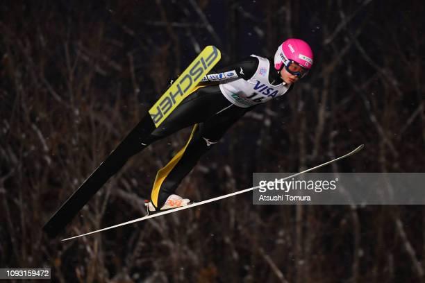 Yuka Seto of Japan competes on day one of the FIS Ski Jumping World Cup Ladies Sapporo at Okurayama Jump Stadium on January 12 2019 in Sapporo...