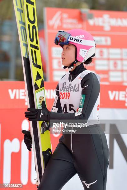 Yuka Seto of Japan during the Qualification for the FIS Ski Jumping Women's Worldcup at Energie AG Skisprungarena on February 1 2019 in Hinzenbach...