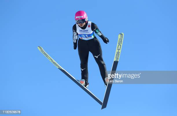 Yuka Seto of Japan jumps during the qualification of the HS109 women's ski jumping Competition of the FIS Nordic World Ski Championships at Toni...