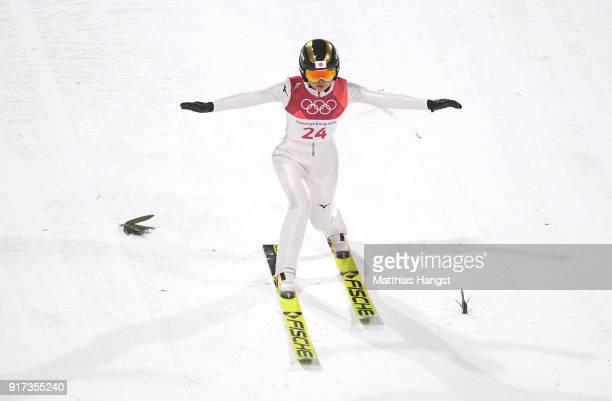 Yuka Seto of Japan lands a jump during the Ladies' Normal Hill Individual Ski Jumping Final on day three of the PyeongChang 2018 Winter Olympic Games...