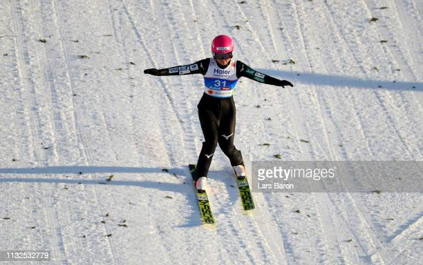 Yuka Seto of Japan lands during the final round of the HS109 women's ski jumping Competition of the FIS Nordic World Ski Championships at Toni Seelos...