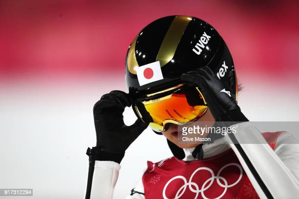 Yuka Seto of Japan looks on after a jump during the Ladies' Normal Hill Individual Ski Jumping Final on day three of the PyeongChang 2018 Winter...