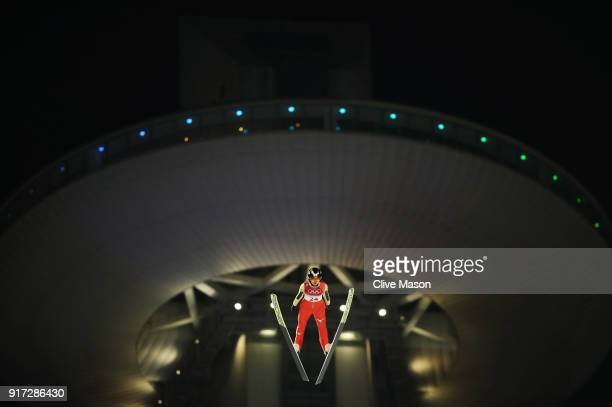 Yuka Seto of Japan makes a trial jump during the Ladies' Normal Hill Individual Ski Jumping Final on day three of the PyeongChang 2018 Winter Olympic...