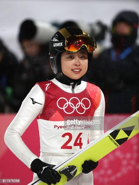 Yuka Seto of Japan reacts after a jump during the Ladies' Normal Hill Individual Ski Jumping Final on day three of the PyeongChang 2018 Winter...