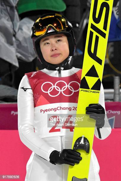 Yuka Seto of Japan reacts after competing in the first jump during the Ladies' Normal Hill Individual Ski Jumping Final on day three of the...