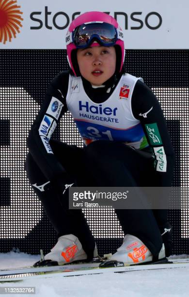 Yuka Seto of Japan reacts after the final round of the HS109 women's ski jumping Competition of the FIS Nordic World Ski Championships at Toni Seelos...