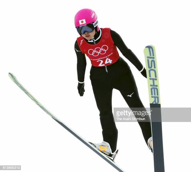 Yuka Seto of Japan soars during the Ladies' Normal Hill Individual training at Alpensia Ski Jumping Centre on February 8 2018 in Pyeongchanggun South...